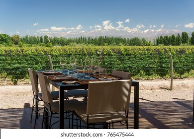 Dining al fresco in the mountains at a winery in the Uco Valley of Mendoza, Argentina