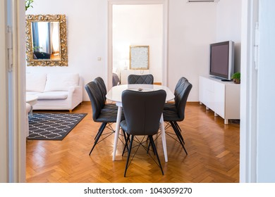 Dining area in modern luxury apartment