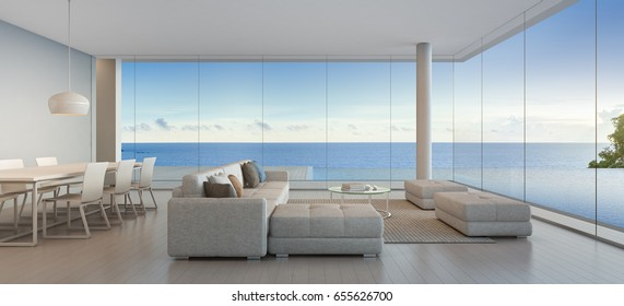 Dining and living room of luxury beach house with sea view swimming pool in modern design, Vacation home for big family - Interior 3d rendering