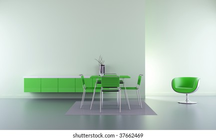 Dining room - chairs, table and rack in green - interior scene