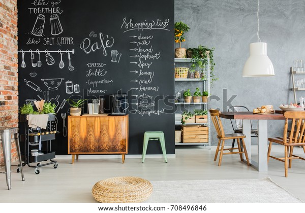 Dining Room Chalkboard Wall Wooden Chest Stock Photo Edit Now 708496846