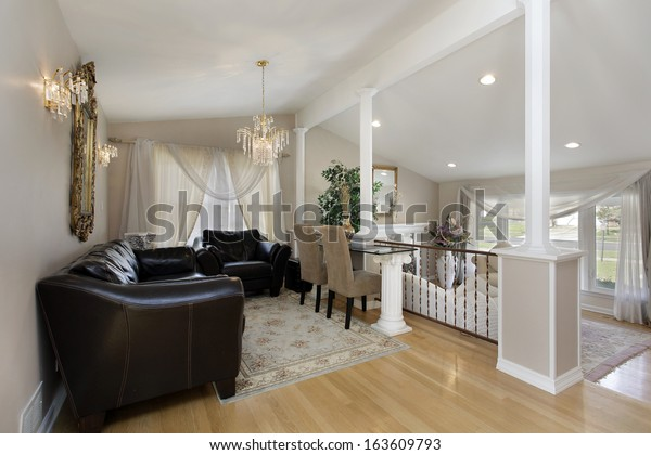 Dining Room Columns Above Living Room Stock Photo Edit Now 163609793