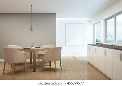 Dining room and kitchen in luxury house with white picture frame- 3D rendering