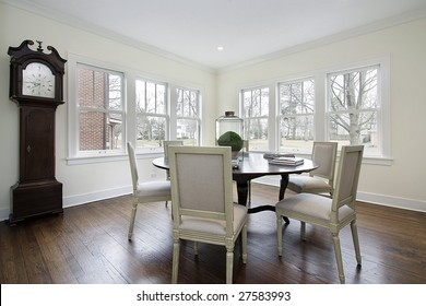 Dining room with large clock