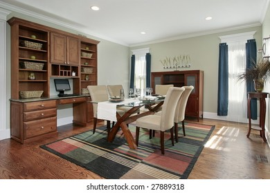 Dining room with large desk and buffet