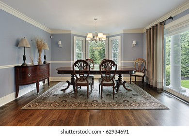 Dining room in luxury home with picture window