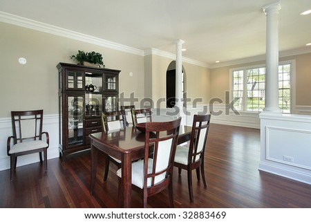 Dining Room In New Construction Home With Columns