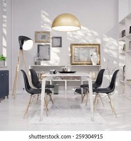 Dining room - retro design (3 D render using 3 DS Max)