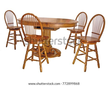 Dining room table and chairs on white with clipping path.