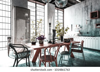 Dining room with tables, chairs and houseplants in spacious modern renovated home with light streaming from windows. 3d Rendering.