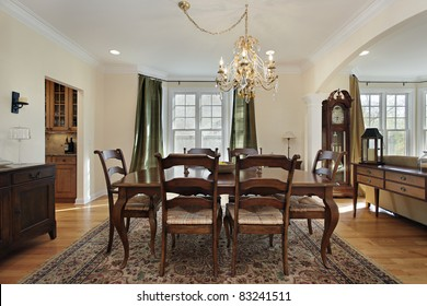 Dining room with view into butler's pantry