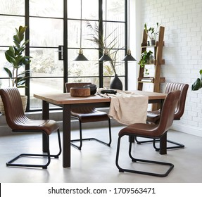 Dining room with wood table interior - Shutterstock ID 1709563471