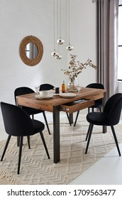 Dining room with wood table interior - Shutterstock ID 1709563477