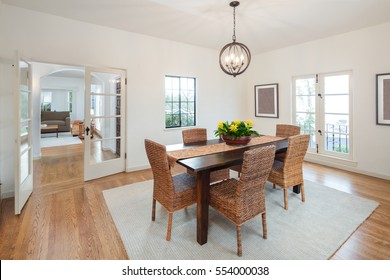 Dining Room with wooden furniture.