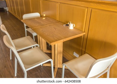 A dining seat in restaurant background