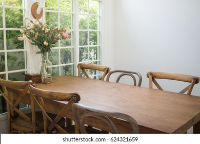 Dining Set Of Classical Wooden Furniture, stock photo