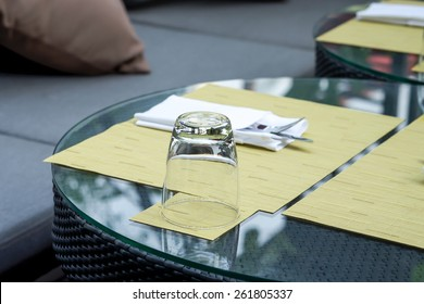 Dining set with silverware and table cloth for outdoor relaxation