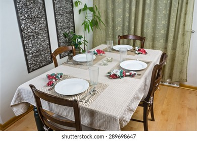Dining table with basic table setting
