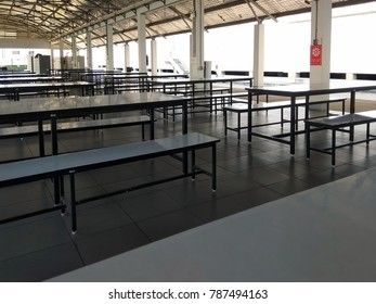 Dining table in the cafeteria of the plant