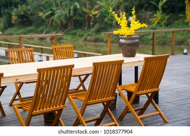 dining table and chair outside the door