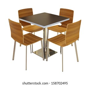 Dining table and chairs isolated with clipping path included