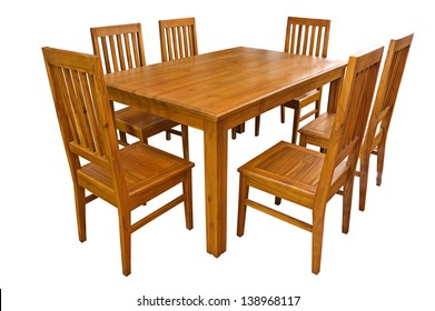Dining table and chairs isolated on white background