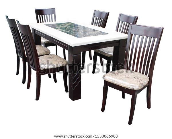 Dining Table Chairs Isolated On White Food And Drink Stock Image 1550086988