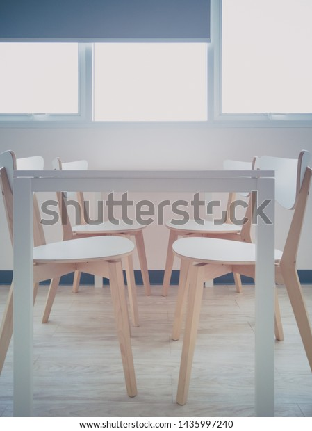 Dining Table Chairs Near Window Curtains Stock Photo (Edit ...