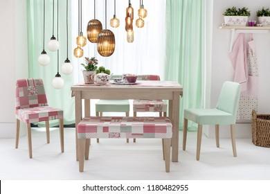 Kitchen Dining Room Illustration Interior Design Stock Vektorgrafik