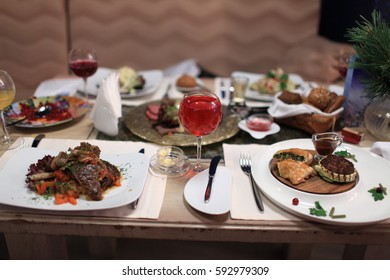 Dining table with dishes in a restaurant