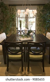 Dining table with luxury decor and furniture.