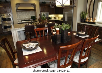 Dining table with luxury home decor.