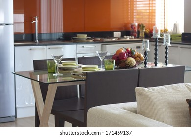 dining table ready for couple in apartment.