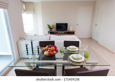dining table ready for couple in condominium.