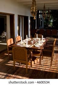 Dining table set for dinner