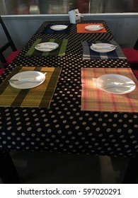 Dining table is set for holiday dinner