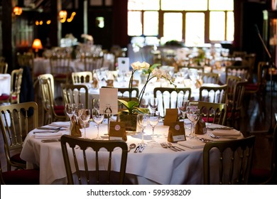 Dining table set for a wedding or a corporate event