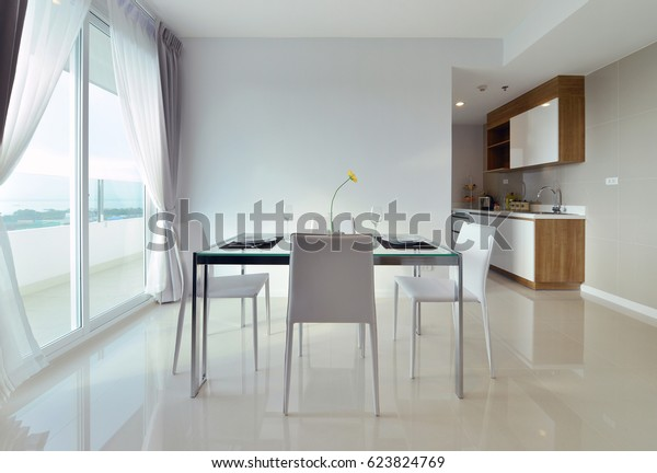 Dining Table Table Set White Luxury Stock Photo Edit Now 623824769
