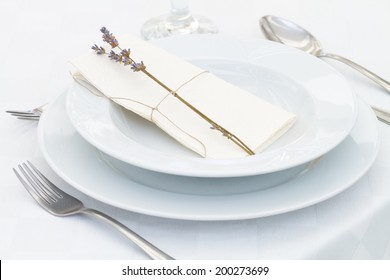 dining table setting with lavender