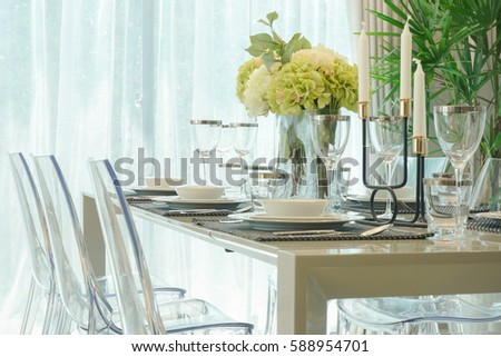 Dining Table Vase Flower Dining Room Stock Photo Edit Now