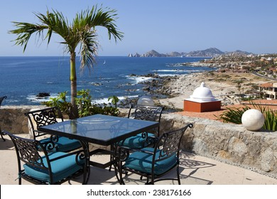 Dining tables with a great view of the Cabo San Lucas and Lands End in the far background