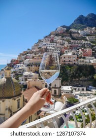 Dining with view from the  hotel room at Positano, destination town on Italy's Amalfi Coast.