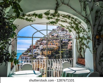 Dining with view from the restaurant in Positano, destination town on Italy's Amalfi Coast.