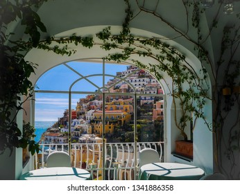 Dining with view from the restaurant in Positano, destination town on Italy's Amalfi Coast