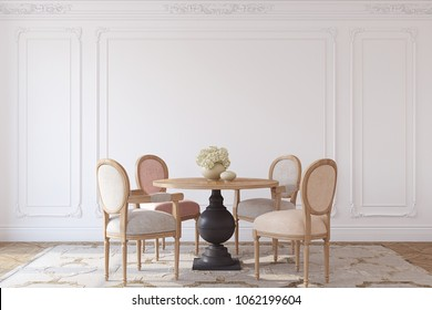 Dining-room in french style. Interior mockup. 3d render.