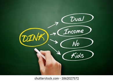 DINK - Dual Income No Kids acronym, concept background on blackboard