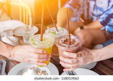 Dinking ice coffee and healthy with friend for relax