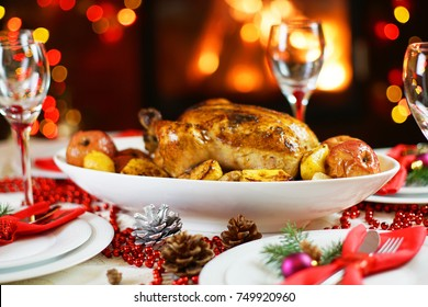 dinner with chicken near Christmas tree
