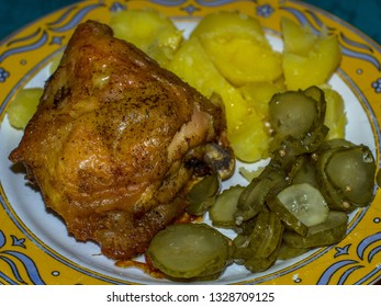 dinner with chicken, potatoes and cucumber salad
