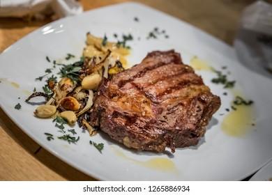 Dinner - grilled beef with garlic, Eilat, Israel